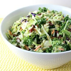 Slaw made from broccoli, kale and Brussels Sprouts with dried cranberries and peptitas in a sweet and sour poppy seed dressing.