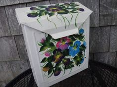 PANSY POSY Hand Painted Vintage Mailbox with Flowers and Leaves