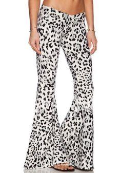 Stylish Low-Waisted Leopard Print Boot Cut Women's Pants