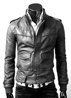 Handmade New Men Flap Front Slim Fit Leather Jacket, Men leather jacket, Leather jacket for men. $119.00, via Etsy.