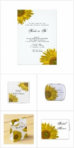 Yellow #Sunflowers Bridal Shower Products Customize these pretty Yellow Bridal Shower Products with the names of the bride and groom to be and date. Choose from Sunflower Bridal Shower Invitations, Party Favors, Disposable Paper Napkins, Favor Bags and Tags, Personalized Cookies and Thank You Notes with matching Postage Stamps and Envelopes. All products are fully customizable by the customer. Perfect to coordinate with your casual or classy summer, fall or sunflower event. #bridalshower