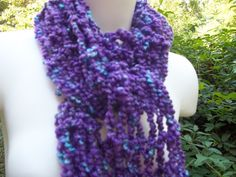 Long Lavender and Turquoise Knit Scarf Drop Stitch by AuntBsAttic