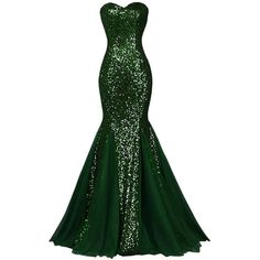 Women's Sequins Strapless Mermaid Long Tulle Evening Banquet Prom... (€69) ❤ liked on Polyvore featuring dresses, green sequin dress, cocktail dresses, green cocktail dress, long homecoming dresses and strapless prom dresses