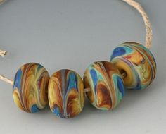 Marbled Pairs  4 Handmade Lampwork Beads  Green Brown  by outwest, $16.00