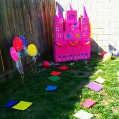 Candy land party castle made from boxes