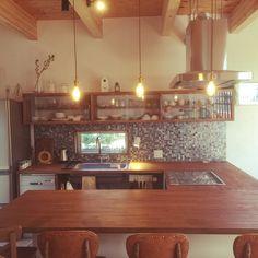 北欧/カフェ風/DIY/照明/無垢材/漆喰壁…などのインテリア実例 - 2015-12-16 13:51:51 | RoomClip(ルームクリップ) Eat In Kitchen, Kitchen Dining, Kitchen Decor, Dining Room, Kitchen Interior, Room Interior, Kitchen Views, Cafe Style, Home Desk