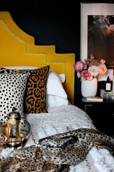 boho glam bedroom in black yellow and blush pink #ModernHomeDecorIdeas