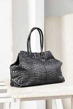 LIEBESKIND Chelsea Croc-Embossed Leather Tote Bag
