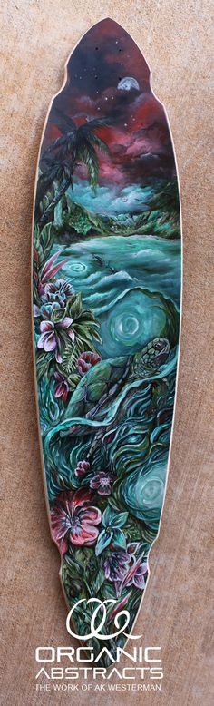 Hand Painted Ocean Longboard by AKOrganicAbstracts.deviantart.com on @DeviantArt