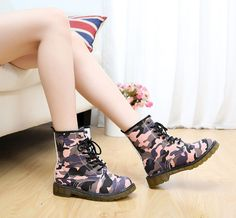 Trend Women Lace-Up Ox Flat Ankle Bootie Girls Fashion Camouflage Boots Shoes
