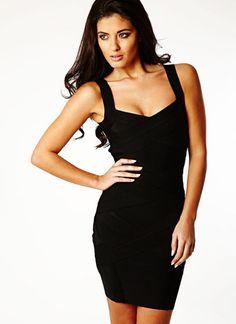 Black Sexy Dress - Starry cross back black bandage | UsTrendy
