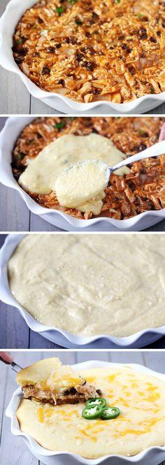 Chicken Enchilada Cornbread Pie | Recipe By Photo..I love enchiladas and cornbread.....gonna try this, I bet it taste like tamales!