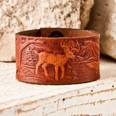 Men's Jewelry Bracelet  Brown Leather Cuff  Man's by rainwheel, $48.00