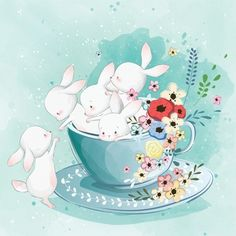 Cute Bunnies im Teecup Stock-Vektorgrafik (Lizenzfrei) 1313072777 Bunny Art, Cute Bunny, Geometric Background, Background Patterns, Vector Background, Cute Drawings, Animal Drawings, Watercolor Paper Texture, Flower Watercolor