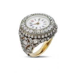 SWISS. AN UNUSUAL 18K GOLD AND PLATINUM DIAMOND-SET RING WATCH | UNSIGNED, CIRCA 1900 | 1900s, none | Christie's