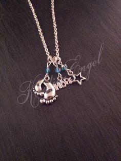 Ketten mittellang - Kette mit Fuß Hope Stern Anhänger blauen Perlen  - ein Designerstück von Kreativ-Engel bei DaWanda Charmed, Etsy, Chain, Bracelets, Silver, Jewelry, Chains, Angel, Neck Chain
