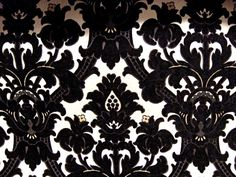 Palace Gates damask fabric.Sweetly Italian formal black chenille on cream woven dams. Design Nashville. custom drapery and bedding available.