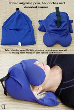 Tired of migraine pain, headaches and dreaded sinuses? This cap contours the neck, eyes and sinus area with a unique design and helps to relieve your tension. It features a removable neck pack that allows the option of hot, cold or a combination of hot an Health And Beauty, Health And Wellness, Health Tips, Health Fitness, Health Care, Sinus Migraine, Migraine Relief, Migraine Diet, Chronic Migraines