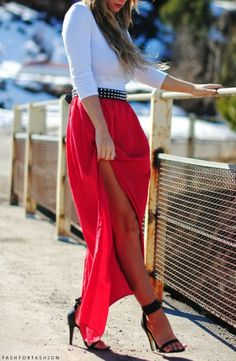 Black and Red Maxi Skirt and Nicora John Boots | Red maxi and ...