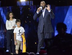 """April 30: Selena on stage with Magic Johnson & Ezra Frech while co-hosting """"We Day Illinois"""" at the Allstate Arena in Rosemont, Illinois [GP]"""
