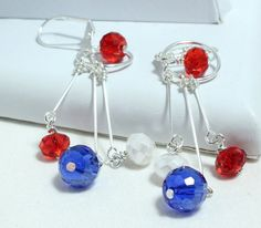 Patriotic Crystal Long Dangle Earrings by NancysCrystalFantasi, $18.00