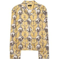 Burberry Printed Silk Pyjama Shirt (4.300 RON) ❤ liked on Polyvore featuring yellow and burberry