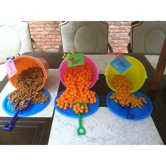 Cute way to serve snacks for a pool party.  I bought the sand buckets, plates and snacks for 7 dollars. Add cute tags and use the attached shovel to serve. Gotta love the Dollar Tree. My kids loved this.