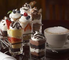 Zabaglione, Tiramisu, Mini Cannoli, Chocolate Coconut Mousse and Chocolate Espresso Mousse.