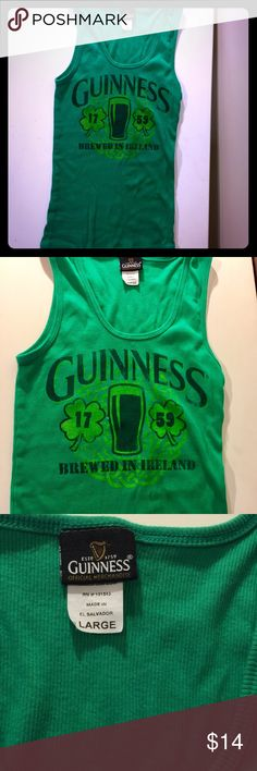 St. Patty's Day Staple. Guinness Tank. St. Patty's Day Staple. Guinness Tank. Official Merchandise of Guinness Brand. Never worn! Tag reads large but, It will fit small-large. Guiness Tops Tank Tops