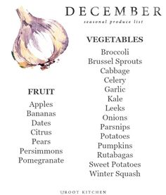 Today, I'm sharing my December Seasonal Produce List!  Every month this year, I've shared a seasonal produce list so that you all can have a handy dandy printable to save on your phones, or reference when making a grocery list. In addition, my website is organized so that you can look at my Ingredient Index for a specific ingredient, and find recipes based on what you might have in the fridge.  Somehow, we've made it to December - the last month of the year! I have really enjoyed sharing…