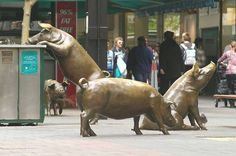 'The Rundle Mall Pigs': life-size bronze pigs, named Horatio, Truffles, Augusta and Oliver, all rooting around a rubbish bin | Rundle Mall, Adelaide, Australia | officially known as 'A Day Out' - by Marguerite Derricourt.