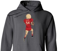 Custom Hoodie!  Personalize with your childs name and number, and customize with his/her uniform colors!