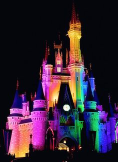 Rainbow Cinderella Castle at Magic Kingdom.... I JUST HAD GHE BEAT FREAkING IDEAAaaaaa!!!!!!!!!!!!!! So for my crayon art canvas I will put THIS CASTLE IN THE MIDDLE ON THE BOTTOM!!!!!!!