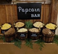 10 Graduation Party Food Bar Inspirations For The Best Party Ever - You might be thinking about what your graduation party food bar is going to look like? Here are 10 Graduation Party Food Bar Inspirations! Wedding Popcorn Bar, Wedding Snacks, Wedding Catering, Brewery Wedding Reception, Wedding Snack Tables, Wedding Food Bar Ideas, Wedding Foods, Wedding Sweets, Reception Food