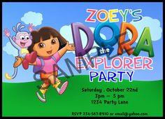 Printable Dora Birthday Party Supplies ~ Dora the Explorer Party Invitations