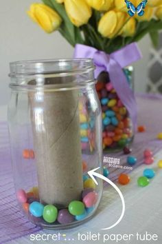 DIY and Craft Ideas  <br> Mason Jar Crafts, Mason Jar Diy, Jelly Jar Crafts, Easter Table Decorations, Easter Centerpiece, Easter Table Settings, Spring Decorations, Jelly Bean Jar, Easter Jelly Beans