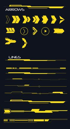 Buy Hi-tech Lines and Arrows Set by anchor_point_heshan on GraphicRiver. 10 Hi-Tech Lines and Arrows set This file contains 14 Hi-Tech Arrow shapes and 9 Lines shapes, you can use these shap. Web Design, Game Ui Design, Logo Design, Design Tech, Shape Design, Game Interface, Interface Design, Technology Design, Technology Logo