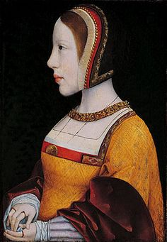 Isabel de Austria, Queen of Denmark, by the Master of the Legend of Mary Magdalene.  Daughter of Juana la loca and Felipe el hermoso and sister to Carlos V. She was married to Christian II, King of Denmark. ~great site! interesting detail of trim on hood and gown c. 1515