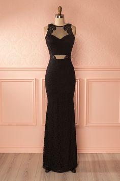 Robe de soirée sirène noire en dentelle et filet - Black lace and mesh mermaid gown