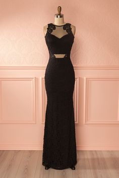 Regan - Black lace and mesh mermaid gown www.1861.ca