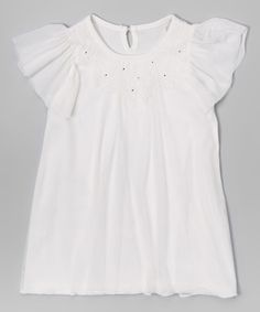 Loving this White Angel-Sleeve Overlay Tunic - Infant, Toddler & Girls on #zulily! #zulilyfinds
