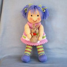 LUCY LAVENDER and her Rabbit - knitted toy doll - PDF email knitting pattern. $4.95, via Etsy.