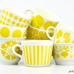Vintage Coffee Cups, Kitchenware, Tableware, Marimekko, Happy Colors, Porcelain Ceramics, Mellow Yellow, Vintage Beauty, Scandinavian Design