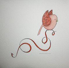 untitled bird (pen & watercolor)