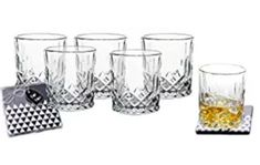 Lead-Free Crystal Double Old-Fashioned Highball Water Glasses, SET OF Heavy Base Barware Glasses Set, Drinking Glasses. Free Set of 2 Bar Drink Coasters Included Gin Glasses, Whiskey Glasses, Gin Goblets, Luxury Glasses, Wine Time, Bar Drinks, Lead Free, Barware, Drinkware