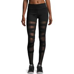 Electric Yoga Women's Ballerina Lace Ups Leggings - Black, Size S ($54) ❤ liked on Polyvore featuring pants, leggings, black, mesh-panel leggings, legging pants, lace-up leggings, elastic waist pants and mesh inset leggings