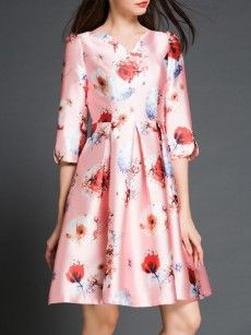 Pink High Waist Floral Printed Awesome V Neck Skater Dress
