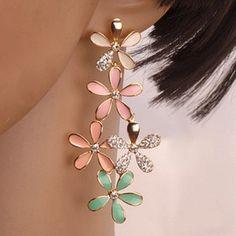 Pair of Chic Women's Rhinestone Colored Flower Design Earrings