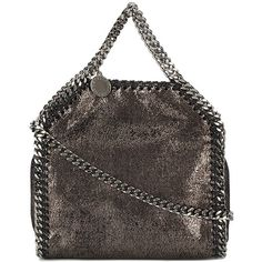 Stella McCartney Mini Metallic Pewter Falabella shoulder bag (41.965 RUB) ❤ liked on Polyvore featuring bags, handbags, shoulder bags, metallic, metallic handbags, stella mccartney, miniature purse, pewter handbag and shoulder hand bags