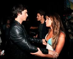 Lea Michele and Ian Somerhalder backstage at the Teen Choice Awards